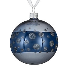 Buy John Lewis Helsinki Glitter Spot Bauble, Blue Online at johnlewis.com