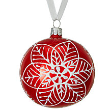 Buy John Lewis Chamonix Snowflake Bauble, Red Online at johnlewis.com
