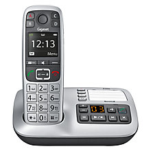 Buy Gigaset E550A Digital Cordless Telephone with Optical Call Alert & Answering Machine, Single, Silver Online at johnlewis.com