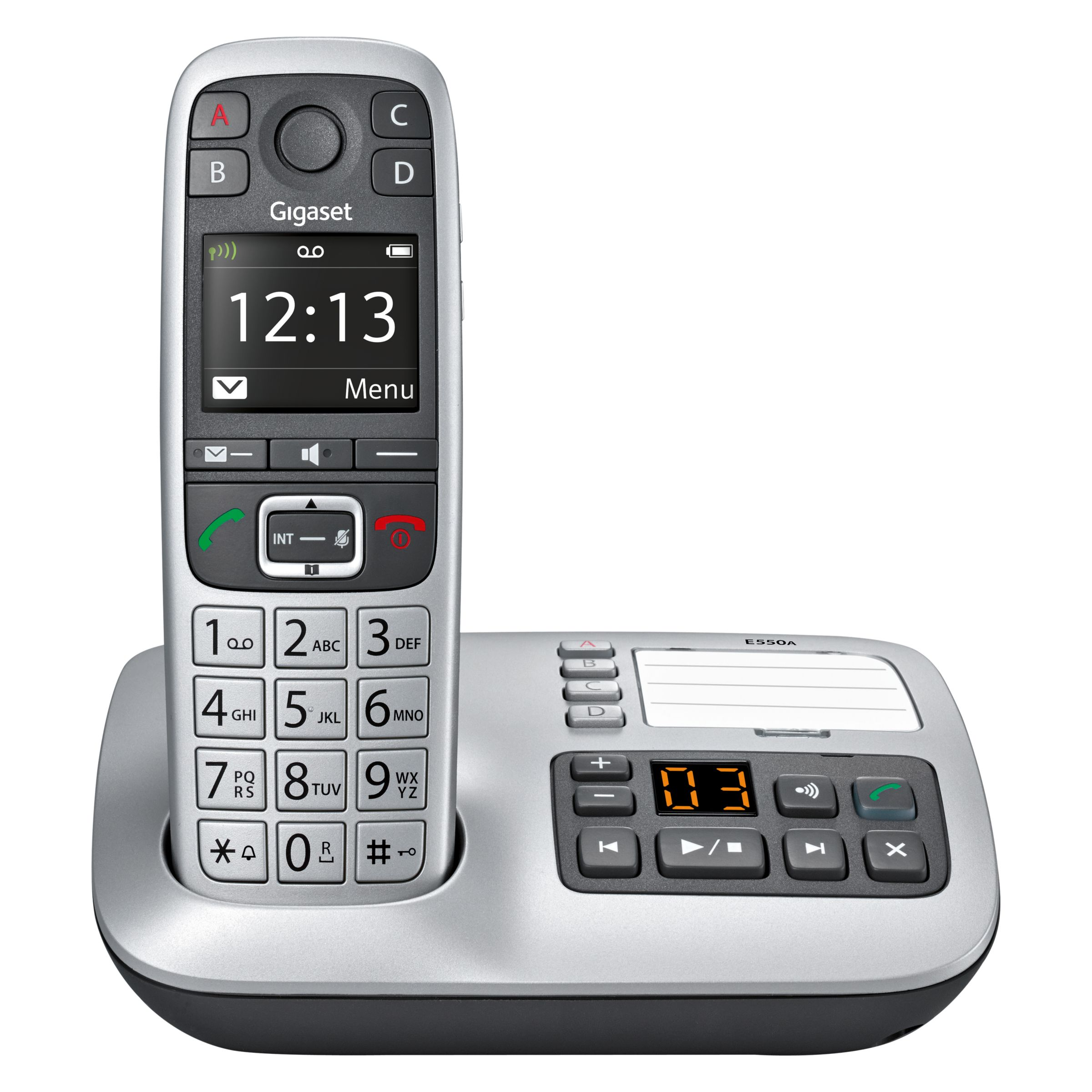 Gigaset Gigaset E550A Digital Cordless Telephone with Optical Call Alert & Answering Machine, Single, Silver