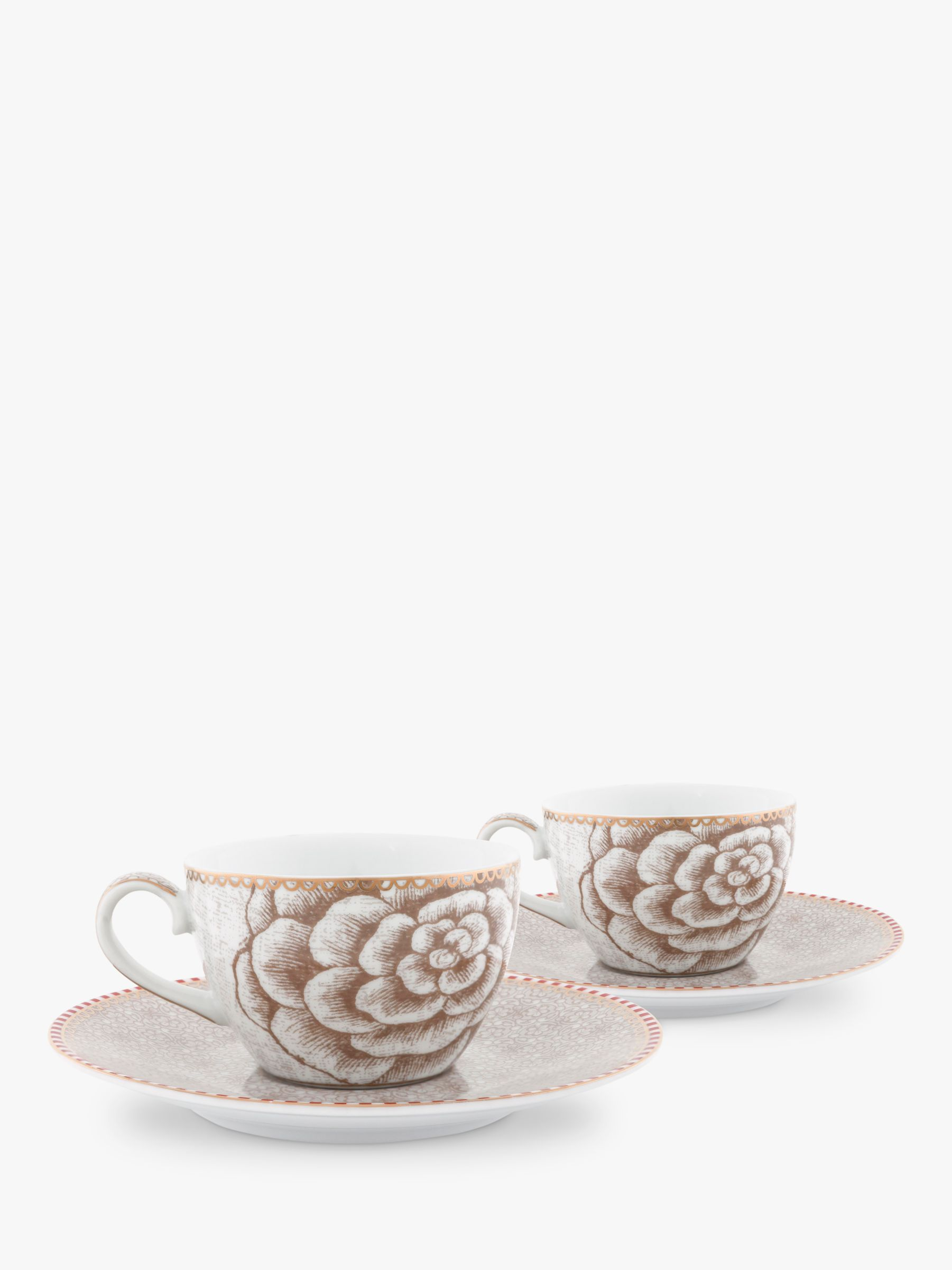 PiP Studio PiP Studio Spring to Life Cup & Saucer, Set of 2, Cream