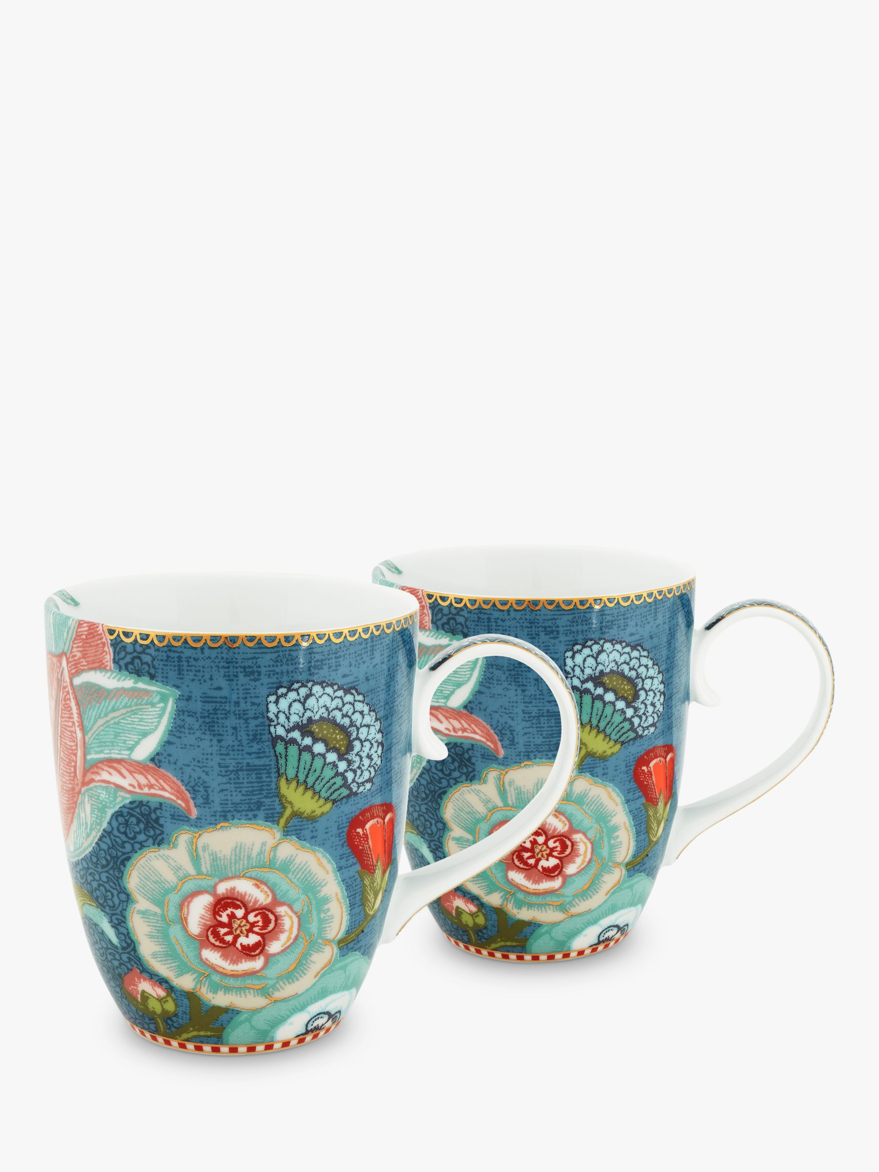 PiP Studio PiP Studio Spring To Life Large Mug, Set of 2, Blue