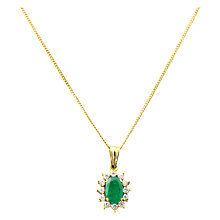 Buy Turner & Leveridge 1980s 18ct Yellow Gold Emerald and Diamond Pendant Necklace, Green/Gold Online at johnlewis.com