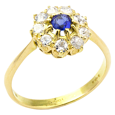 Turner & Leveridge 1910s Edwardian 14ct Gold Sapphire and Diamond Engagement Ring, Blue/Gold