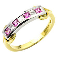 Buy Turner & Leveridge 2000s 18ct Yellow and White Gold Sapphire and Diamond Eternity Ring, Pink/Gold Online at johnlewis.com