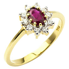 Buy Turner & Leveridge 2000s 18ct Yellow Gold Ruby and Diamond Engagement Ring, Red/Gold Online at johnlewis.com