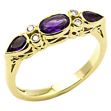 Buy Turner & Leveridge 1990s 18ct Yellow Gold Amethyst and Diamond Ring, Purple/Gold Online at johnlewis.com