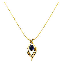 Buy Turner & Leveridge 1990s 14ct Yellow Gold Sapphire and Diamond Flame Pendant Necklace, Blue/Gold Online at johnlewis.com