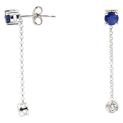 Turner & Leveridge 2000s 18ct White Gold Sapphire and Diamond Stud Chain Drop Earrings, Blue/White Gold