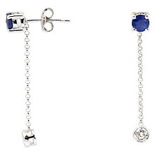 Buy Turner & Leveridge 2000s 18ct White Gold Sapphire and Diamond Stud Chain Drop Earrings, Blue/White Gold Online at johnlewis.com