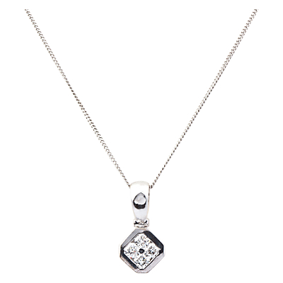 Turner & Leveridge 2000s 18ct White Gold Diamond Pendant Necklace, White Gold