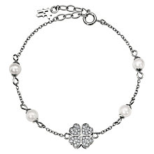 Buy Folli Follie Eternal Heart Coated Shell Bracelet, Silver Online at johnlewis.com