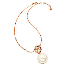 Buy Folli Follie Grace Coated Shell Pendant Necklace, Rose Gold/White Online at johnlewis.com