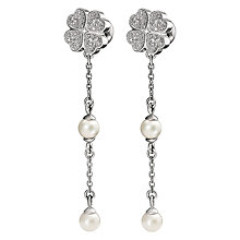 Buy Folli Follie Eternal Heart Coated Shell Drop Earrings, Silver Online at johnlewis.com
