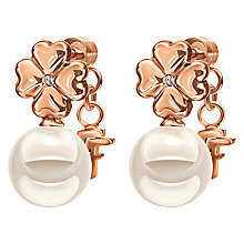 Buy Folli Follie Grace Coated Shell Drop Earrings, Rose Gold/White Online at johnlewis.com