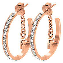 Buy Folli Follie Match & Dazzle Crystal Small Hoop Earrings, Rose Gold Online at johnlewis.com