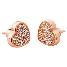 Buy Folli Follie Bling Chic Heart Stud Earrings, Rose Gold Online at johnlewis.com