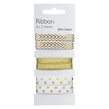 Buy John Lewis Tribbon Gift Ribbon, Pack of 3, Gold Online at johnlewis.com