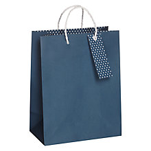 Buy John Lewis Polka Dot Base Small Gift Bag, Navy Online at johnlewis.com