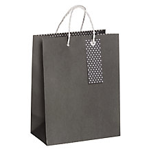 Buy John Lewis Polka Dot Base Small Gift Bag, Grey Online at johnlewis.com