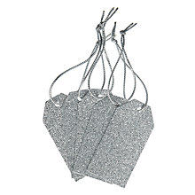 Buy John Lewis Glitter Gift Tags, Pack of 5, Silver Online at johnlewis.com
