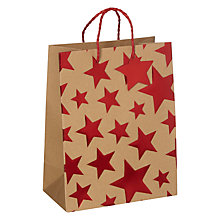 Buy John Lewis Kraft Red Foil Star Gift Bag, Small Online at johnlewis.com