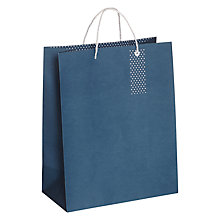 Buy John Lewis Polka Dot Base Medium Gift Bag, Navy Online at johnlewis.com