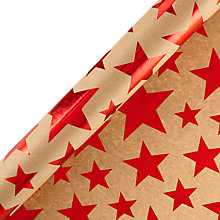 Buy John Lewis Foil Stars Kraft Roll Wrap, Red Online at johnlewis.com