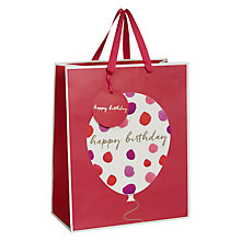 Buy John Lewis Happy Birthday Watercolour Balloon Gift Bag, Medium, Pink Online at johnlewis.com
