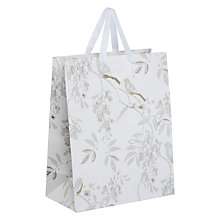 Buy John Lewis Silver Bird Gift Bag, Medium, White Online at johnlewis.com