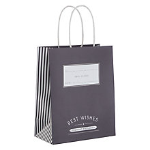 Buy John Lewis Candy Stripe Medium Gift Bag, Grey Online at johnlewis.com
