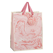 Buy John Lewis Marbel Pastel Gift Bag, Pink Online at johnlewis.com