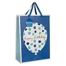 Buy John Lewis Happy Birthday Watercolour Balloon Gift Bag, Blue Online at johnlewis.com