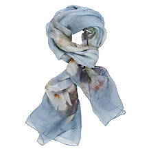 Buy Chesca Butterfly Floral Print Silk Scarf, Blue Online at johnlewis.com