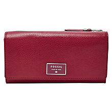 Buy Fossil Dawson Zip Leather Clutch, Wine Online at johnlewis.com