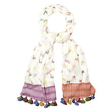 Buy White Stuff Llama Border Geo Print Scarf, Multi Online at johnlewis.com