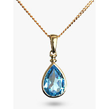 Buy Nina B Gold Teardrop Blue Topaz Pendant, Gold Online at johnlewis.com