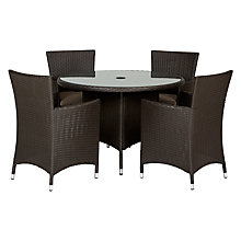 Buy John Lewis Malaga 4-Seater Outdoor Dining Table & Armchairs (x4), Brown Online at johnlewis.com
