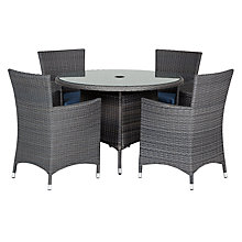 Buy John Lewis Malaga 4-Seater Outdoor Dining Table & Armchairs (x4), Grey Online at johnlewis.com