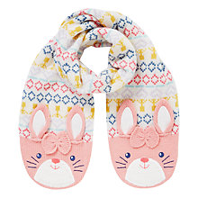 Buy John Lewis Children's Novelty Rabbit Scarf, Pink/White Online at johnlewis.com