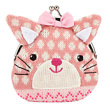 Buy John Lewis Girls' Knitted Rabbit Purse, Pink Online at johnlewis.com