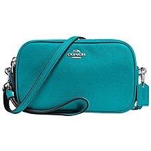 Buy Coach Leather Across Body Clutch Bag, Turquoise Online at johnlewis.com