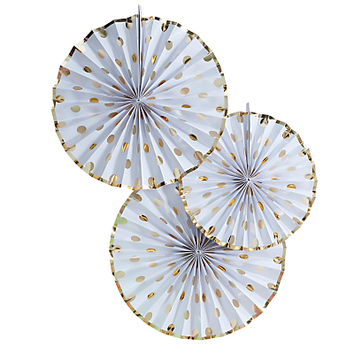 Ginger Ray Pick and Mix Paper Fan Decorations, Pack of 3