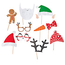 Buy Ginger Ray Santa Photo Booth Props, Pack of 10 Online at johnlewis.com