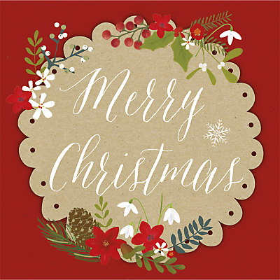 Product photo of Uk greetings merry christmas plaque charity christmas cards pack of 10