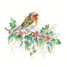 Buy UK Greetings Watercolour Robin Charity Christmas Cards, Pack of 10 Online at johnlewis.com