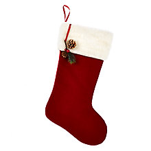 Buy John Lewis Ruskin House Velvet Stocking, Red Online at johnlewis.com