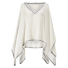 Buy Jigsaw Stitched Edge Poncho, White Online at johnlewis.com