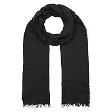 Buy Jigsaw Fringe Edge Scarf, Charcoal Online at johnlewis.com