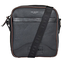 Buy Ted Baker Isaac Embossed Flight Bag, Black Online at johnlewis.com